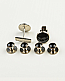 Black and Silver Button Studs & Cuff Links