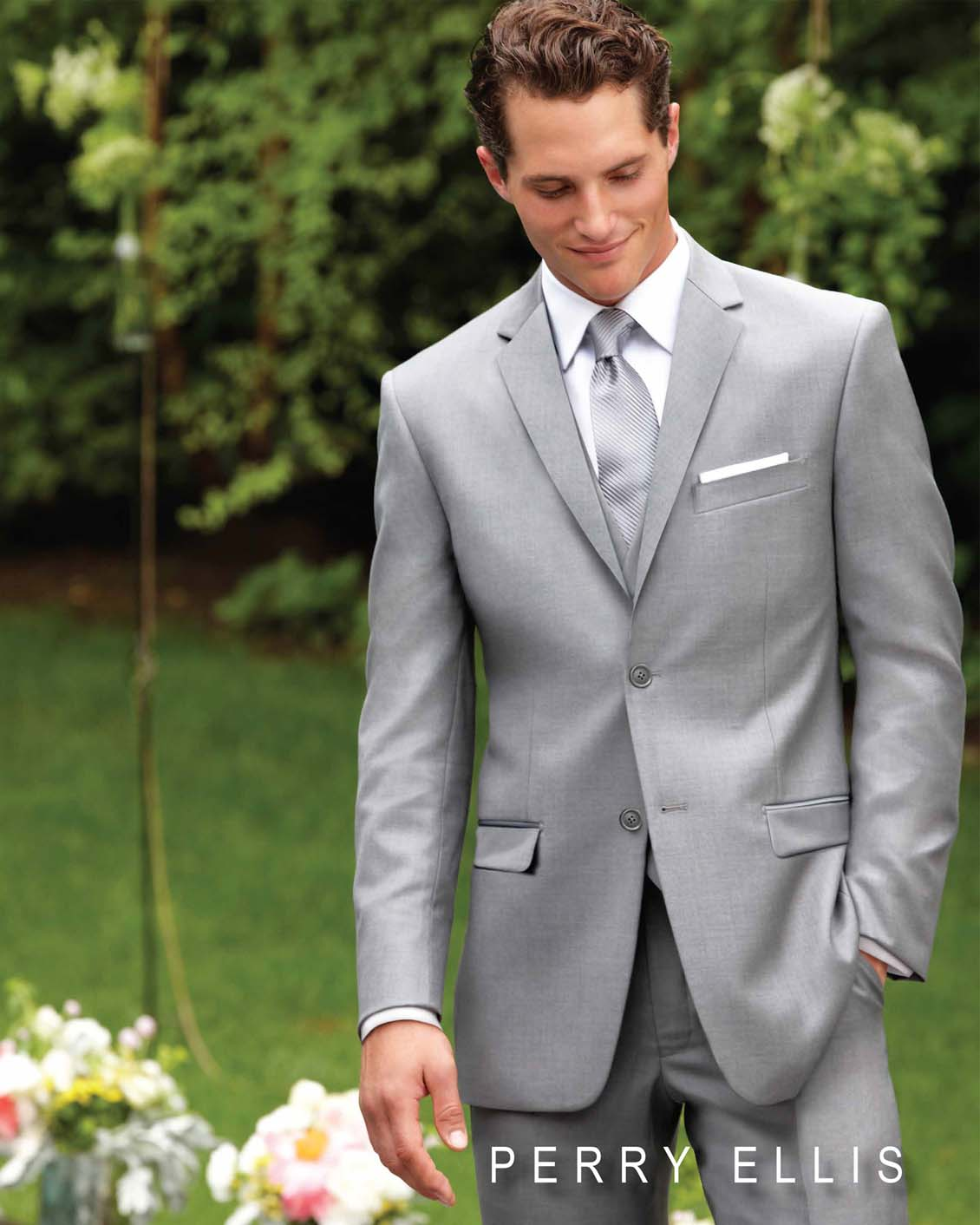 Gray Tux Wedding: PERRY ELLIS EVENING LIGHT GREY SUIT