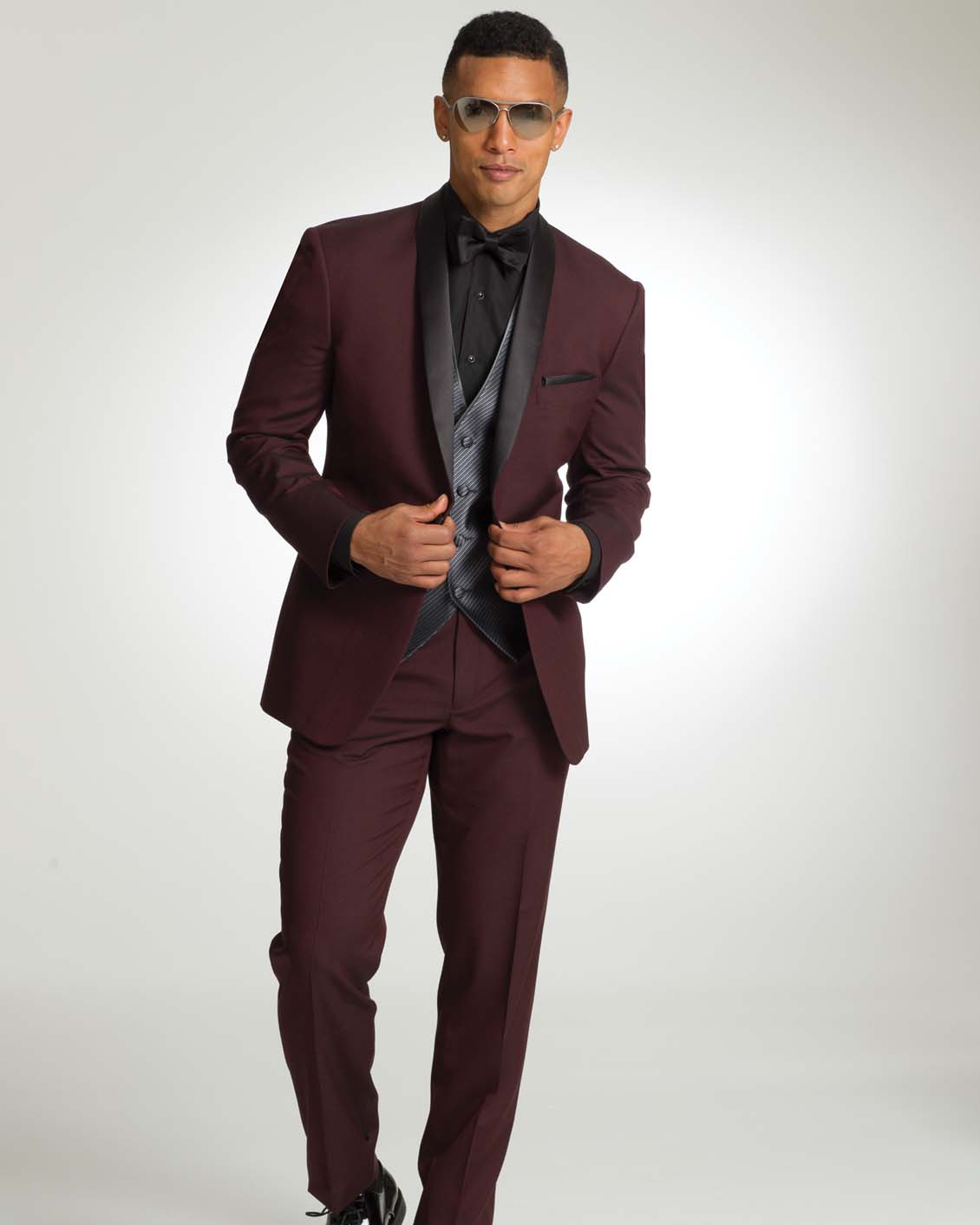 Ike behar camden burgundy tuxedo for Black suit burgundy shirt