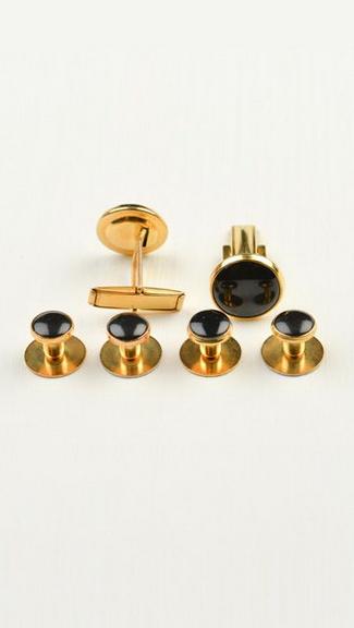 Tuxedo.ca - Black and Gold Button Studs & Cuff Links