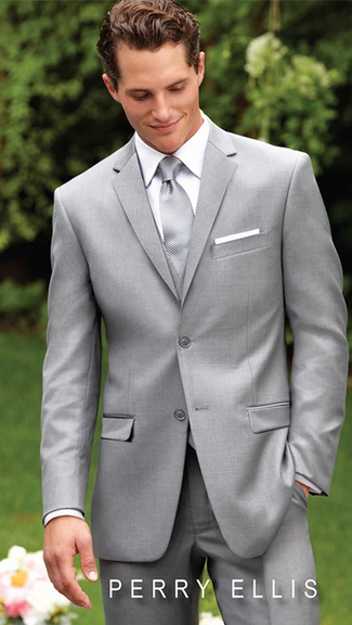 Tuxedo.ca - PERRY ELLIS EVENING LIGHT GREY SUIT